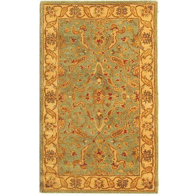 Safavieh Handmade Antiquities Treasure Teal/ Beige Wool Rug (4' x 6')