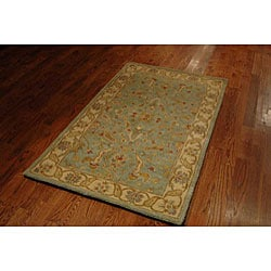Handmade Antiquities Treasure Teal/ Beige Wool Rug (4' x 6')