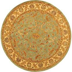 Safavieh Handmade Antiquities Treasure Teal/ Beige Wool Rug (3'6 Round)