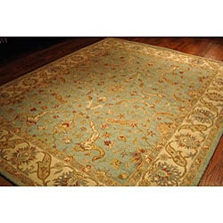 Handmade Antiquities Treasure Teal/ Beige Wool Rug (6' x 9')