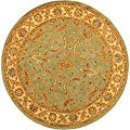 Handmade Antiquities Treasure Teal/ Beige Wool Rug (6' Round)