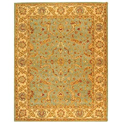 Handmade Antiquities Treasure Teal/ Beige Wool Rug (7'6 x 9'6)