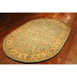 Handmade Treasure Teal/ Beige Wool Rug (7'6 x 9'6 Oval)