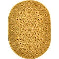 Handmade Treasure Ivory/ Brown Wool Rug (4'6 x 6'6 Oval)