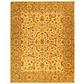 Handmade Antiquities Treasure Ivory/ Brown Wool Rug (6' x 9')