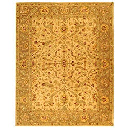 Handmade Antiquities Treasure Ivory/ Brown Wool Rug (7'6 x 9'6)