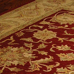 Handmade Antiquities Jewel Red/ Ivory Wool Rug (9'6 x 13'6)