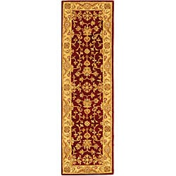Handmade Antiquities Jewel Red/ Ivory Wool Runner (2'3 x 8')