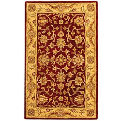 Handmade Antiquities Jewel Red/ Ivory Wool Rug (3' x 5')