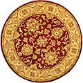 Handmade Antiquities Jewel Red/ Ivory Wool Rug (3'6 Round)