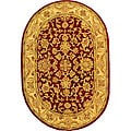 Handmade Antiquities Jewel Red/ Ivory Wool Rug (4'6 x 6'6 Oval)