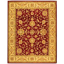 Handmade Antiquities Jewel Red/ Ivory Wool Rug (6' x 9')