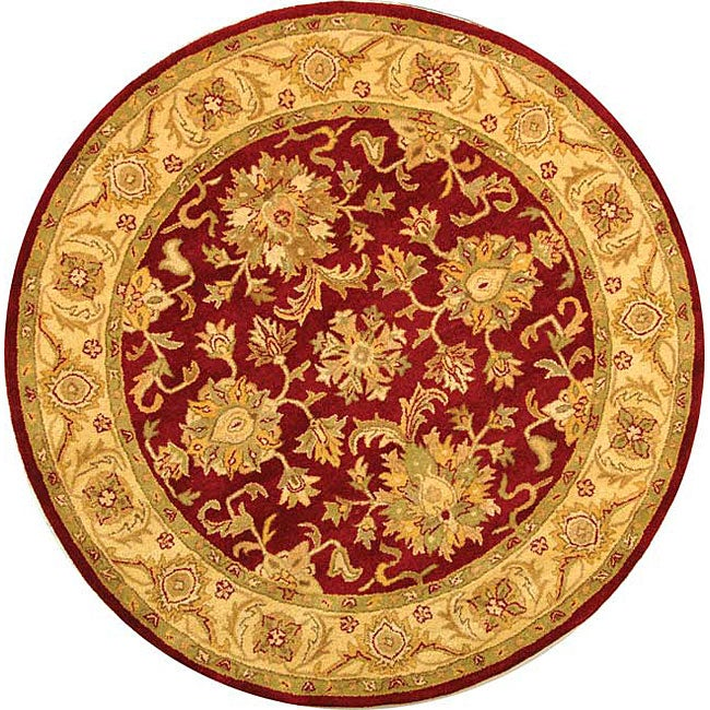 Safavieh Handmade Antiquities Jewel Red/ Ivory Wool Rug (6' Round)