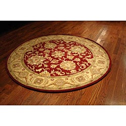 Handmade Antiquities Jewel Red/ Ivory Wool Rug (6' Round)