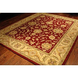 Handmade Antiquities Jewel Red/ Ivory Wool Rug (7'6 x 9'6)