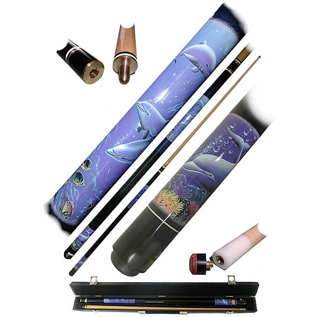 Dolphin 2-piece Pool Cue with 6 Replacement Tips