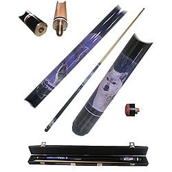 Gary Wolf 2-piece Pool Cue with 6 Replacement Tips
