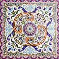 Breton Design 36-tile Ceramic Mosaic Medallion