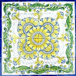 Bazdeh Design 16-tile Ceramic Mosaic Medallion