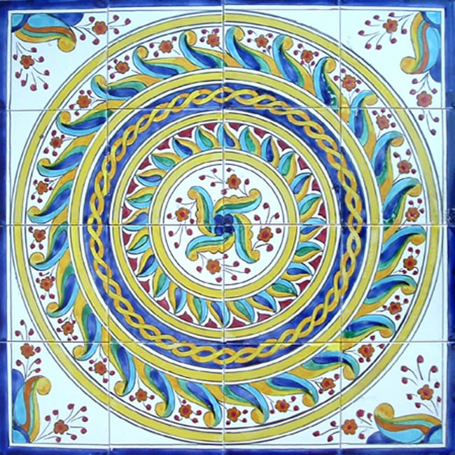 Hand painted mosaic ceramic tiles set of 16 11643310 - Hand painted ceramic tile ...