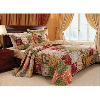 Greenland Home Fashions Antique Chic King-size 3-piece Patterned Cotton Bedspread Set