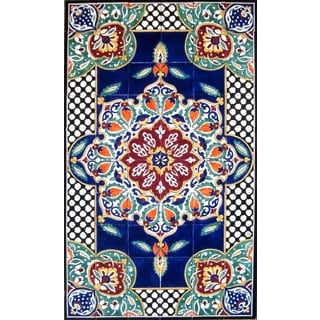 Architectural 'Bizeh Design' 60-tile Ceramic Wall Art