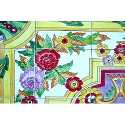 Architectural 'Sabzavar Design' 50-tile Ceramic Wall Art