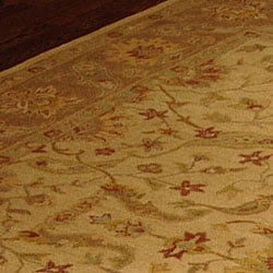 Handmade Antiquities Treasure Ivory/ Brown Wool Rug (9'6 x 13'6)