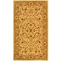 Handmade Antiquities Treasure Ivory/ Brown Wool Runner (2'3 x 4')