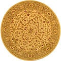 Handmade Antiquities Treasure Ivory/ Brown Wool Rug (3'6 Round)
