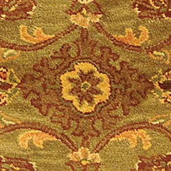 Safavieh Handmade Golden Jaipur Green/ Rust Wool Runner (2'3 x 10')