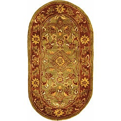 Safavieh Handmade Golden Jaipur Green/ Rust Wool Rug (2'3 x 4' Oval)
