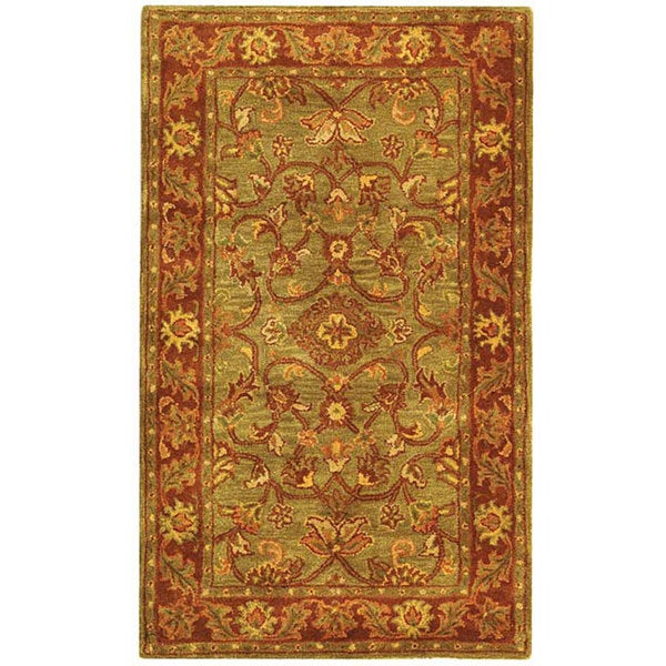 Safavieh Handmade Golden Jaipur Green/ Rust Wool Rug (3' x 5')