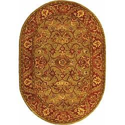 Safavieh Handmade Golden Jaipur Green/ Rust Wool Rug (4'6 x 6'6 Oval)