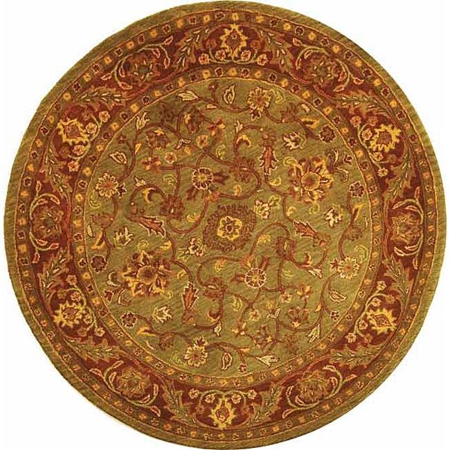 Safavieh Handmade Golden Jaipur Green/ Rust Wool Rug (8' Round)