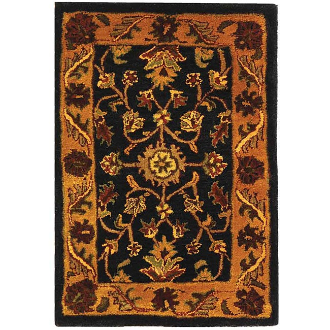 safavieh handmade golden jaipur black gold wool rug 2 39 x 3