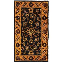 Safavieh Handmade Golden Jaipur Black/ Gold Wool Runner (2'3 x 4')