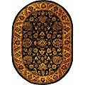 Safavieh Handmade Golden Jaipur Black/ Gold Wool Rug (4'6 x 6'6 Oval)
