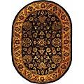 Safavieh Handmade Golden Jaipur Black/ Gold Wool Rug (4'6 x 6'6 Oval)