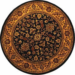 Safavieh Handmade Golden Jaipur Black/ Gold Wool Rug (8' Round)
