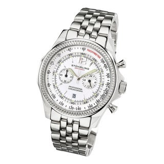 Stuhrling Original Men's Targa 24 Pro Chrono Watch with White Dial
