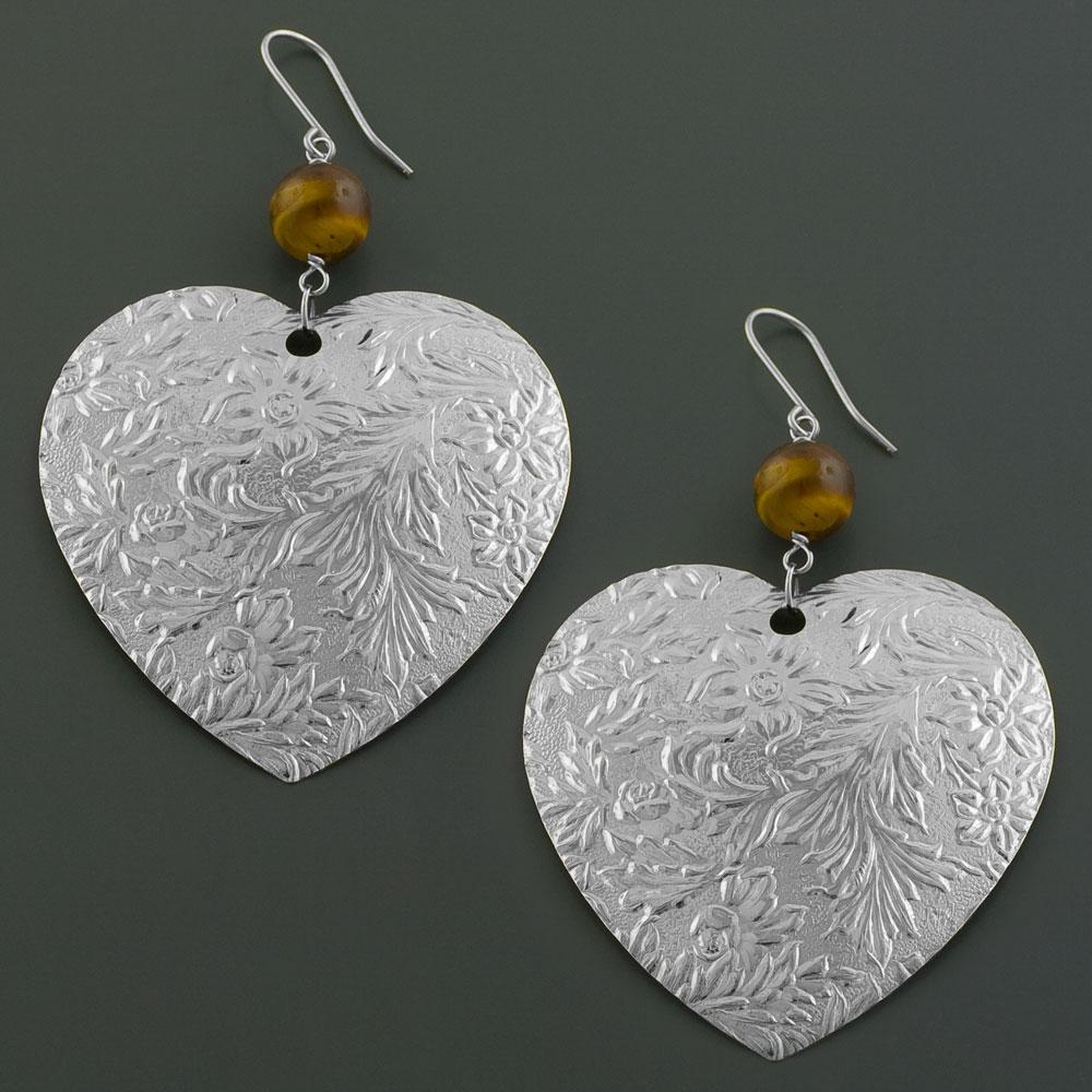 Stainless Steel Tiger Eye Flower on Heart Earrings (Italy)