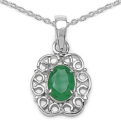 Malaika Silver Oval Genuine Emerald Necklace
