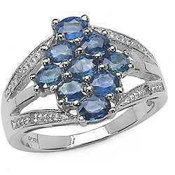 Malaika Sterling Silver Blue Sapphire and Diamond Ring (Size 7)