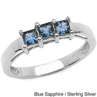 Malaika Silver Genuine Sapphire 3-stone Ring