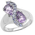 Malaika Silver Genuine Amethyst and Tanzanite Ring