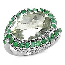 Malaika 5.75ctw Genuine Green Amethyst & Emerald Ring