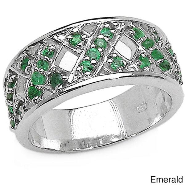Malaika Sterling Silver Gemstone Band-style Ring