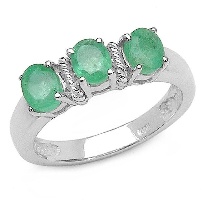 Malaika Sterling Silver Emerald 3-stone Ring