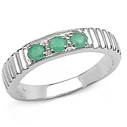 Malaika 0.30ctw Genuine Emerald Rounds 3-Stone Silver Ring